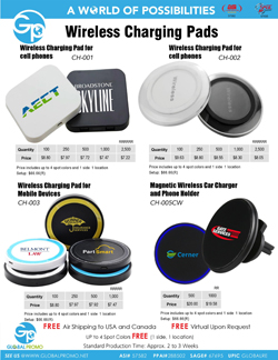 CH-001,CH-002,CH-003 and CH-005CW Wireless Chargers